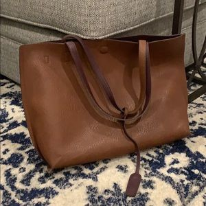Street Level Faux Leather Brown Tote -Reversible